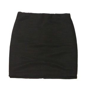 Forever 21 Black Ribbed Fabric Bodycon Mini Skirt